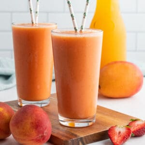 square image of caribeean passion smoothies in glasses