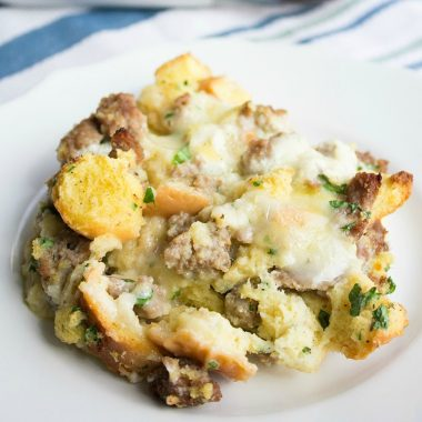 Brie-and-Sausage Breakfast Casserole is a savory morning bite that'll leave you feeling full and happy!