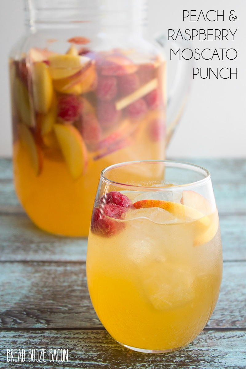 Peach raspberry moscato punch bread booze bacon for Easy fruity mixed drinks