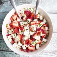 This Strawberry Caprese Salad will make you forget all about tomatoes! I love this salad drizzled with a little balsamic glaze!