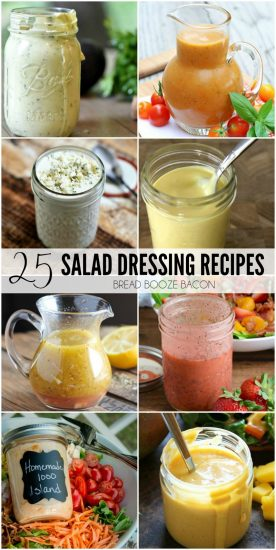Salads are my go-to easy summer meal anytime of day. Amp up your flavors with these totally delicious 25 Salad Dressing Recipes!