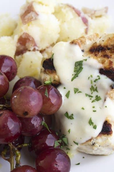 Grilled Garlic-Dijon Chicken & Grapes