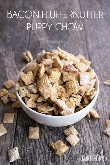 Bacon Fluffernutter Puppy Chow is a sweet & salty snack that'll make anyone sit up and beg!