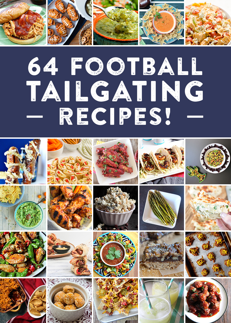 64 recipes for the perfect football tailgate! Check out everything from appetizer recipes, entree recipes, cocktail recipes, dessert recipes, side dish recipes and more to cheer on your team!