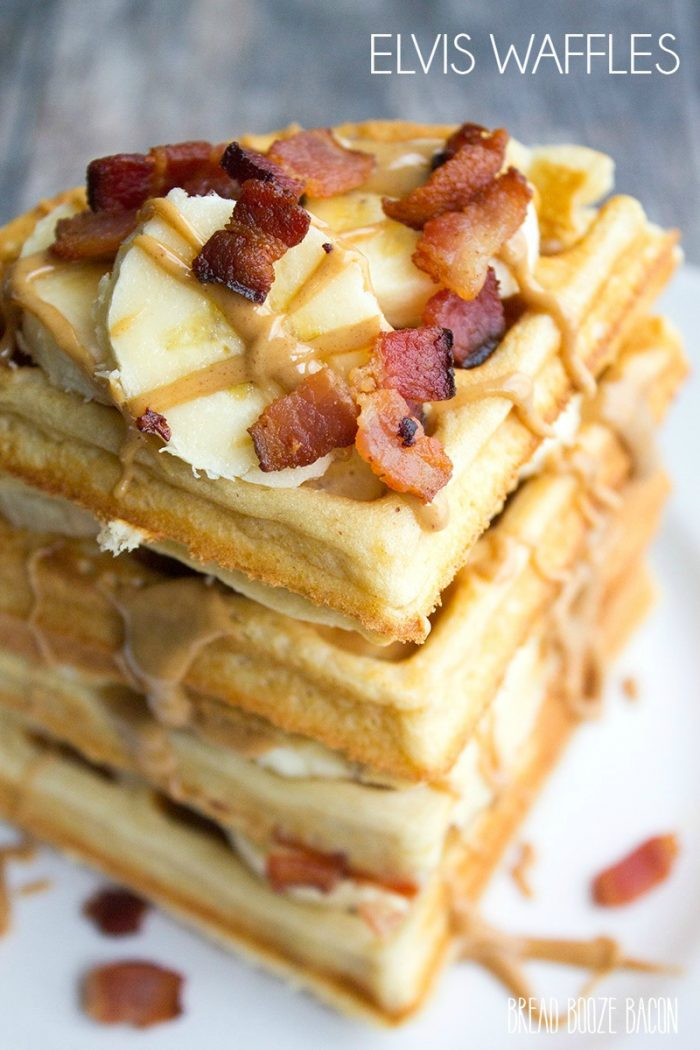 These Elvis Waffles are a towering stack of peanut butter, banana, and bacon goodness not even the king himself could resist!
