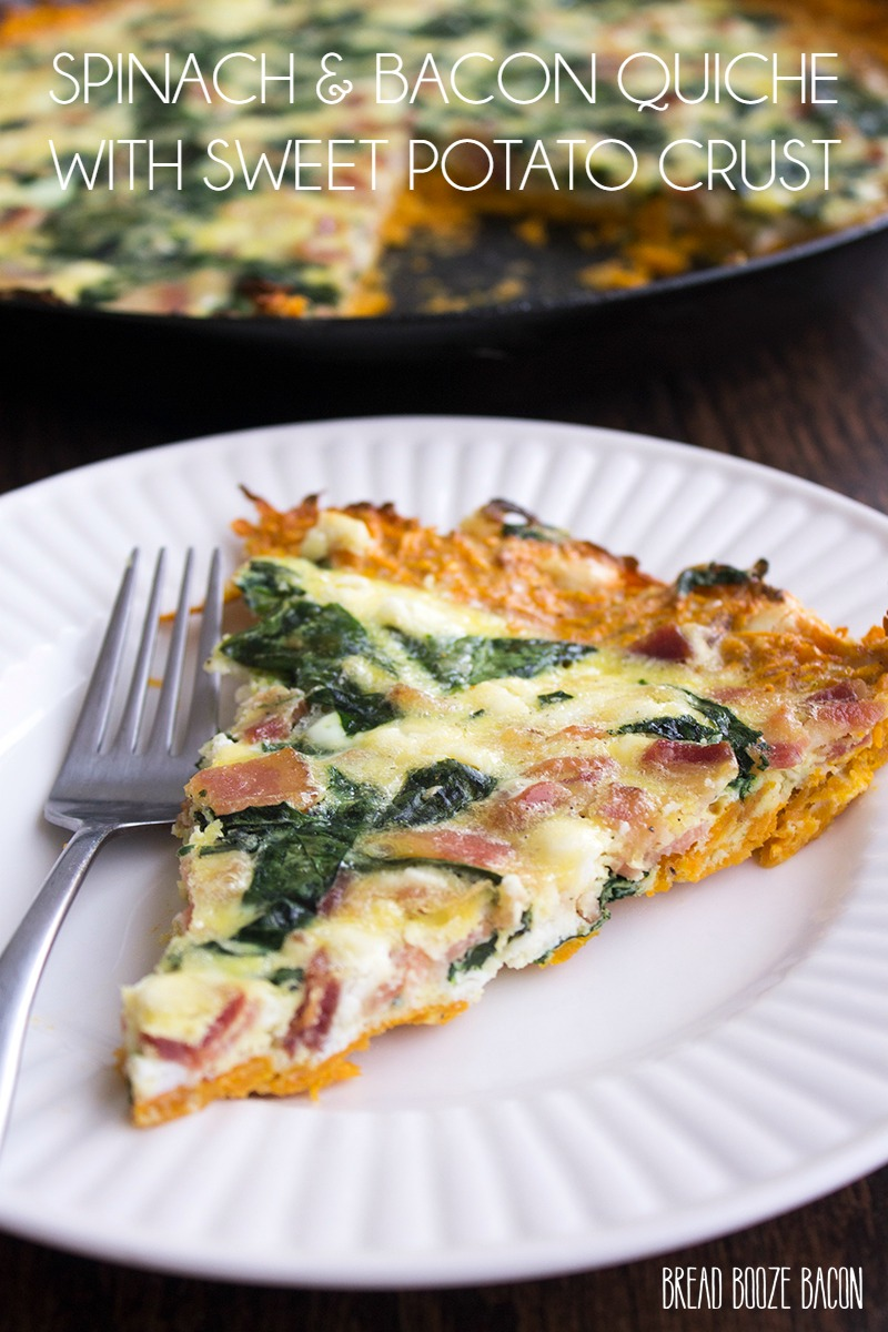 Spinach and Bacon Quiche with Sweet Potato Crust is a deliciously filling breakfast that'll have everyone coming back for seconds!