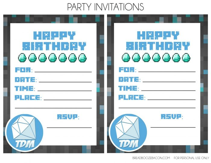 Printable Minecraft Invitations as amazing invitation layout