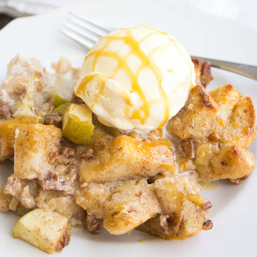 Apple Pecan Bread Pudding is my go to dessert for the holidays. This recipe is easy to make, tastes SO good, and will leave your house smelling amazing!