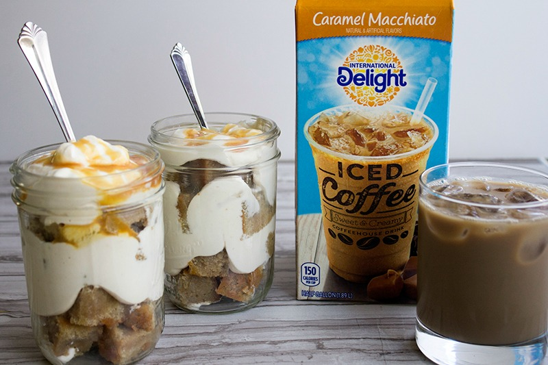 This easy Caramel Macchiato Trifle turns your favorite coffee drink into a crave-able dessert! #IDelight @InDelight #ad