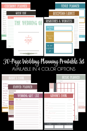 30 Page Wedding Planning Printable Set (available in 4 color options) | Bread Booze Bacon
