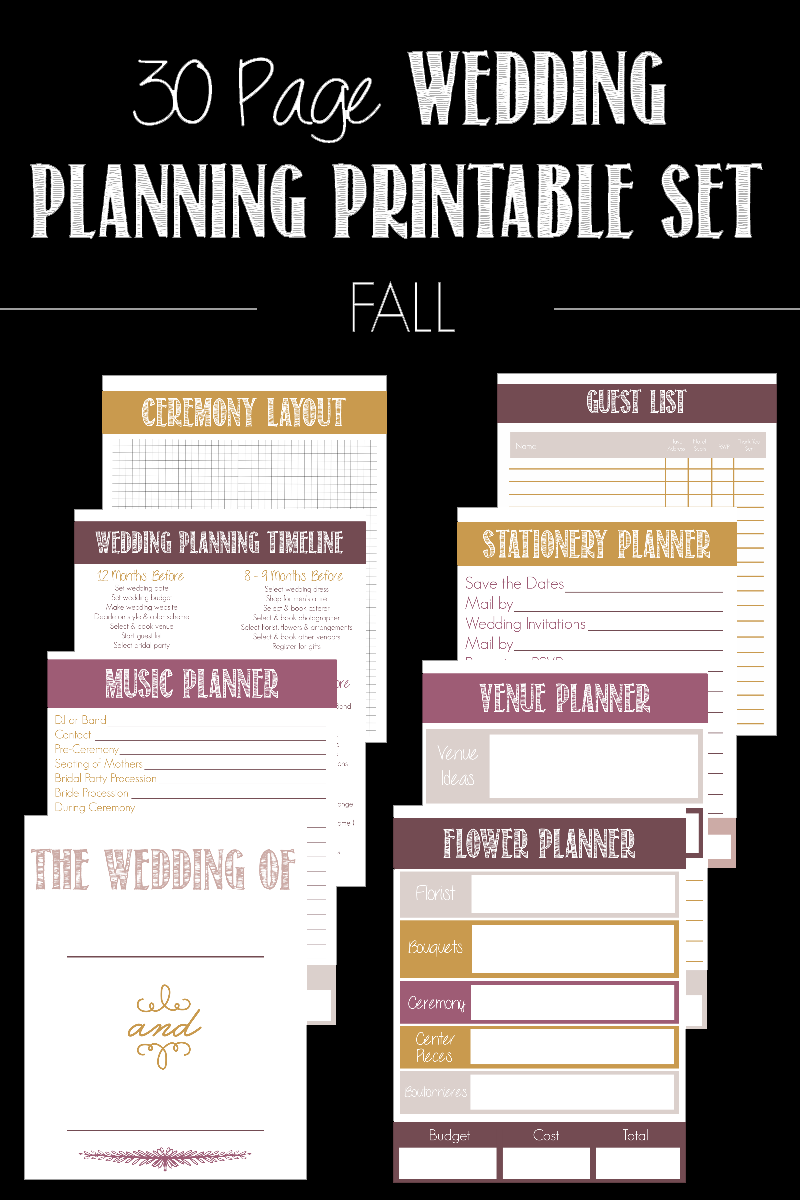 Get ready for your big day with this 30 Page Wedding Planning Printable Set! It's a life saver for any bride to be and come in 4 color options!