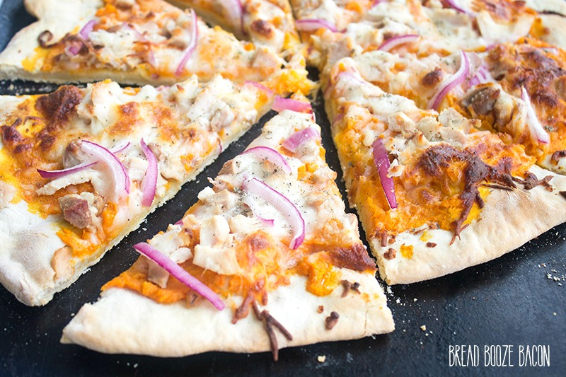 Sweet Potato & Turkey Pizza is a delicious spin on a favorite holiday pairing!