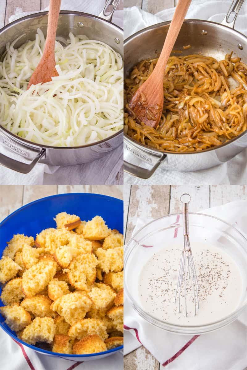 prep steps for caramelized onion & cornbread dressing