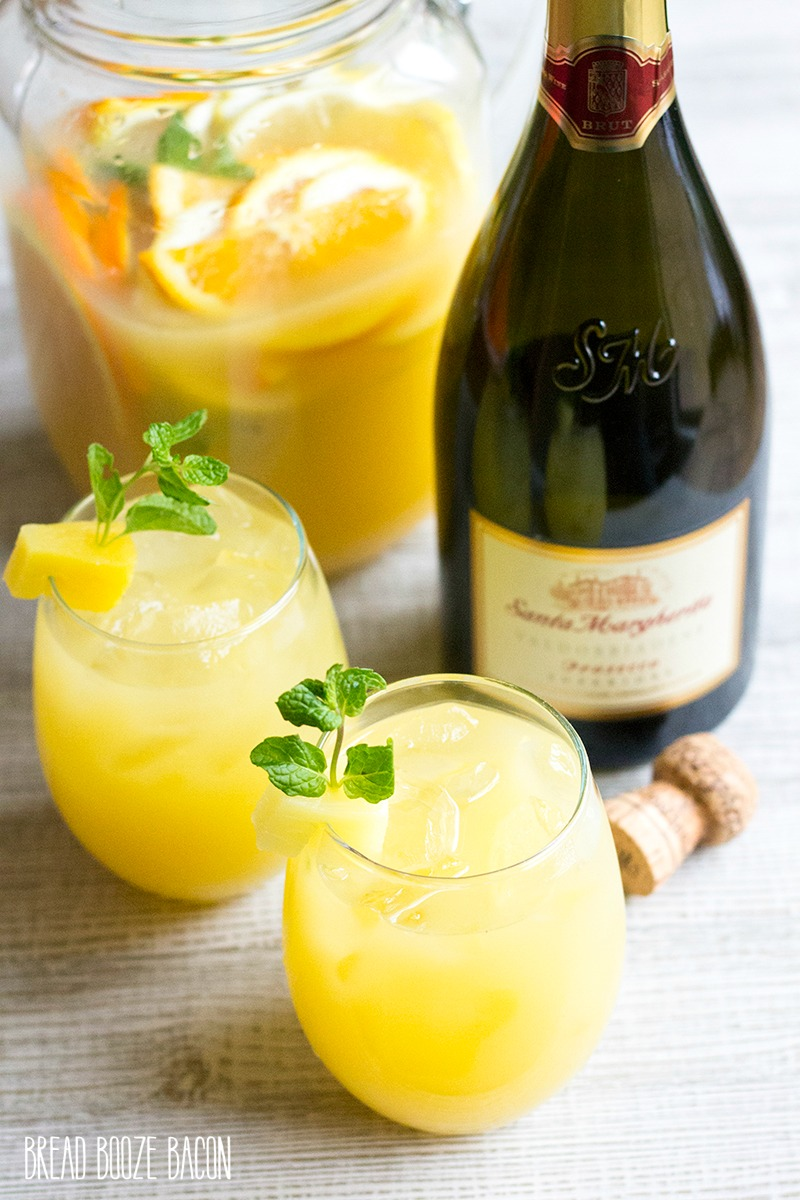 Pineapple Mint Prosecco Punch is a light and refreshing cocktail perfect for brunch or backyard parties!