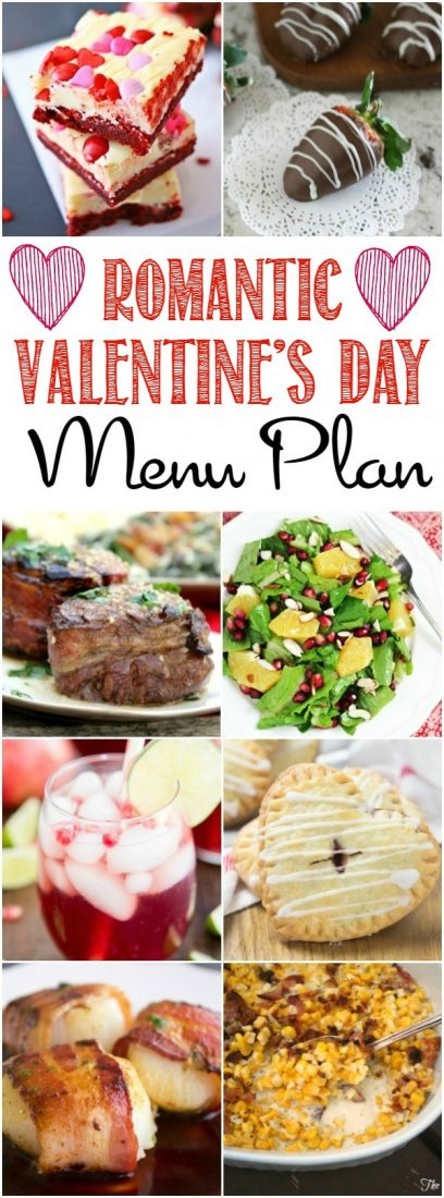Treat your special someone with a meal to remember! These Romantic Valentine's Day Menu Plan will make preparing the perfect meal easy!
