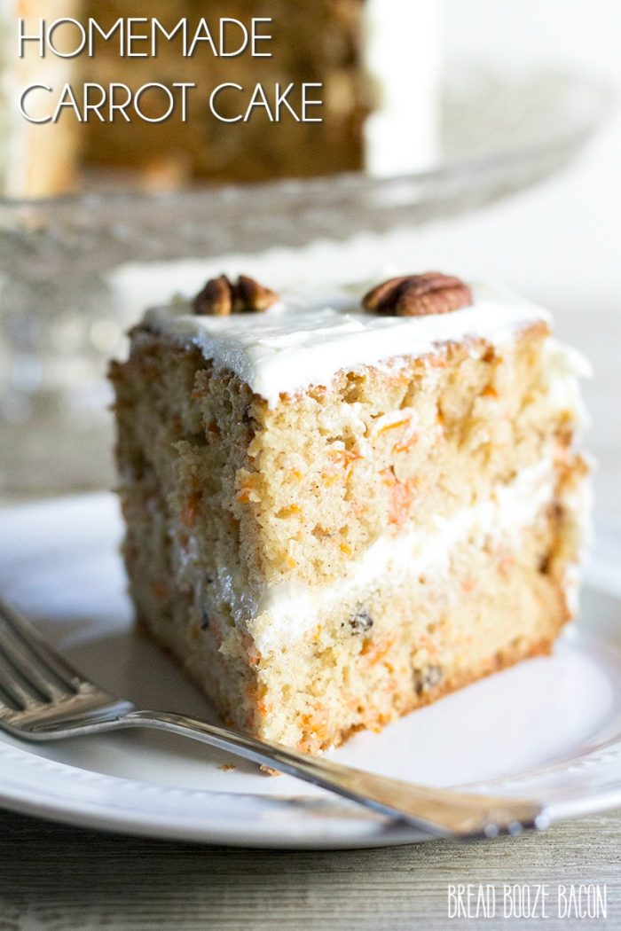 Homemade Carrot Cake is a rich dessert that's easy to make and has pure, homebaked goodness in every bite!