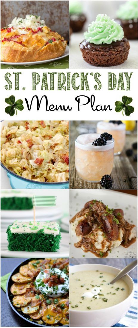 It's almost time for the wearing of the green! Get your party started with these delicious St. Patrick's Day Menu Plan recipes!