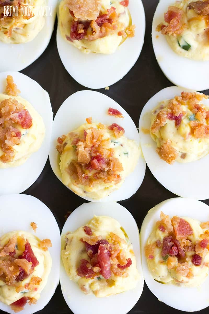 Bacon Jalapeno Popper Deviled Eggs are an addictively good appetizer that'll leave everyone wanting more!