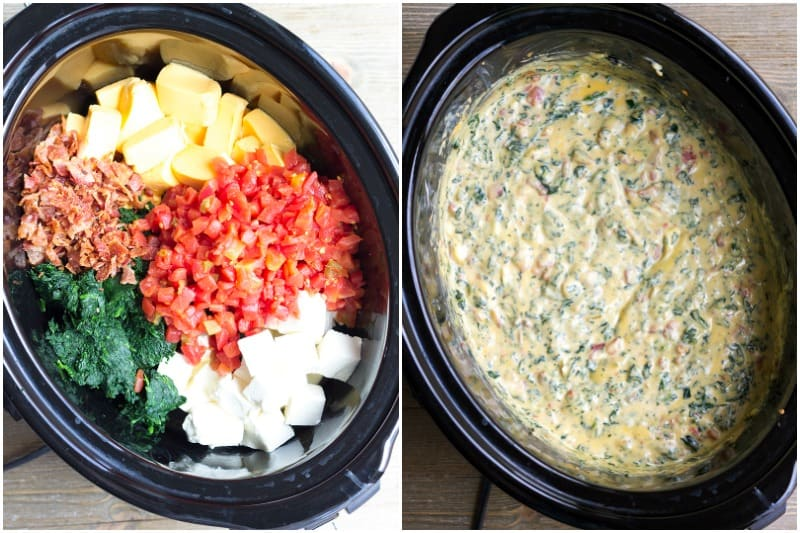 You'll never need another cheese dip recipe again after you try one bite of Crock Pot Spinach & Bacon Queso!