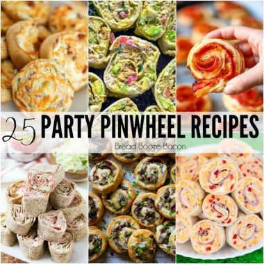 square collage of pinwheel appetizers with text