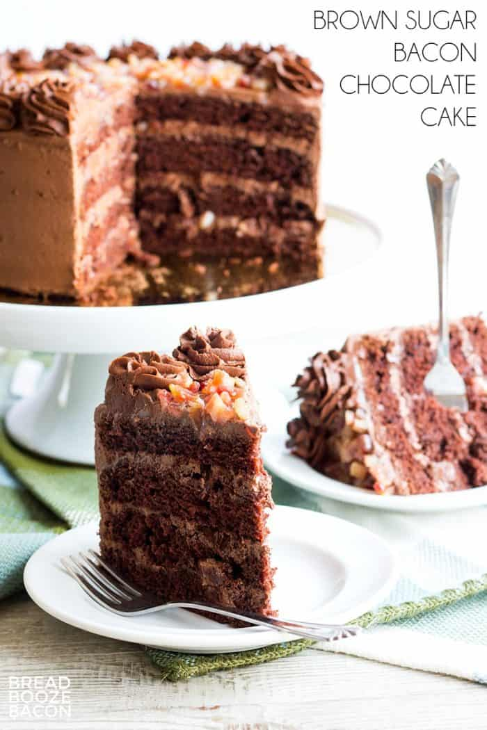 Brown Sugar Bacon Chocolate Cake is a sweet and salty dessert that's decadent, chocolate bliss!