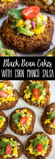 Spice up your meal with Mexican inspired Black Bean Cakes with Corn-Mango Salsa! These crispy cakes are delicious, easy to make, and topped with a fresh salsa that'll make your taste buds dance!