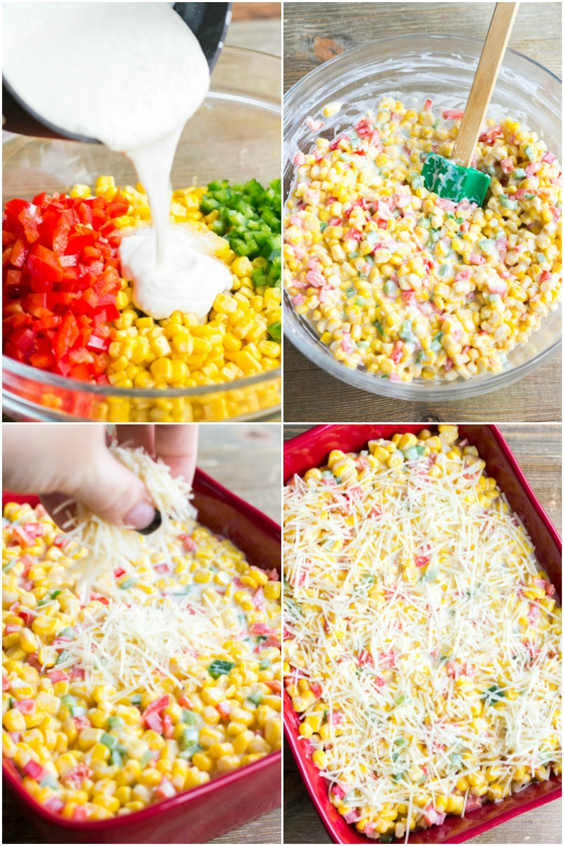 Easy side dishes like this Creamed Corn Casserole with Peppers are my favorite for busy weeknights or the holidays! This casserole is loaded with flavor and so colorful!