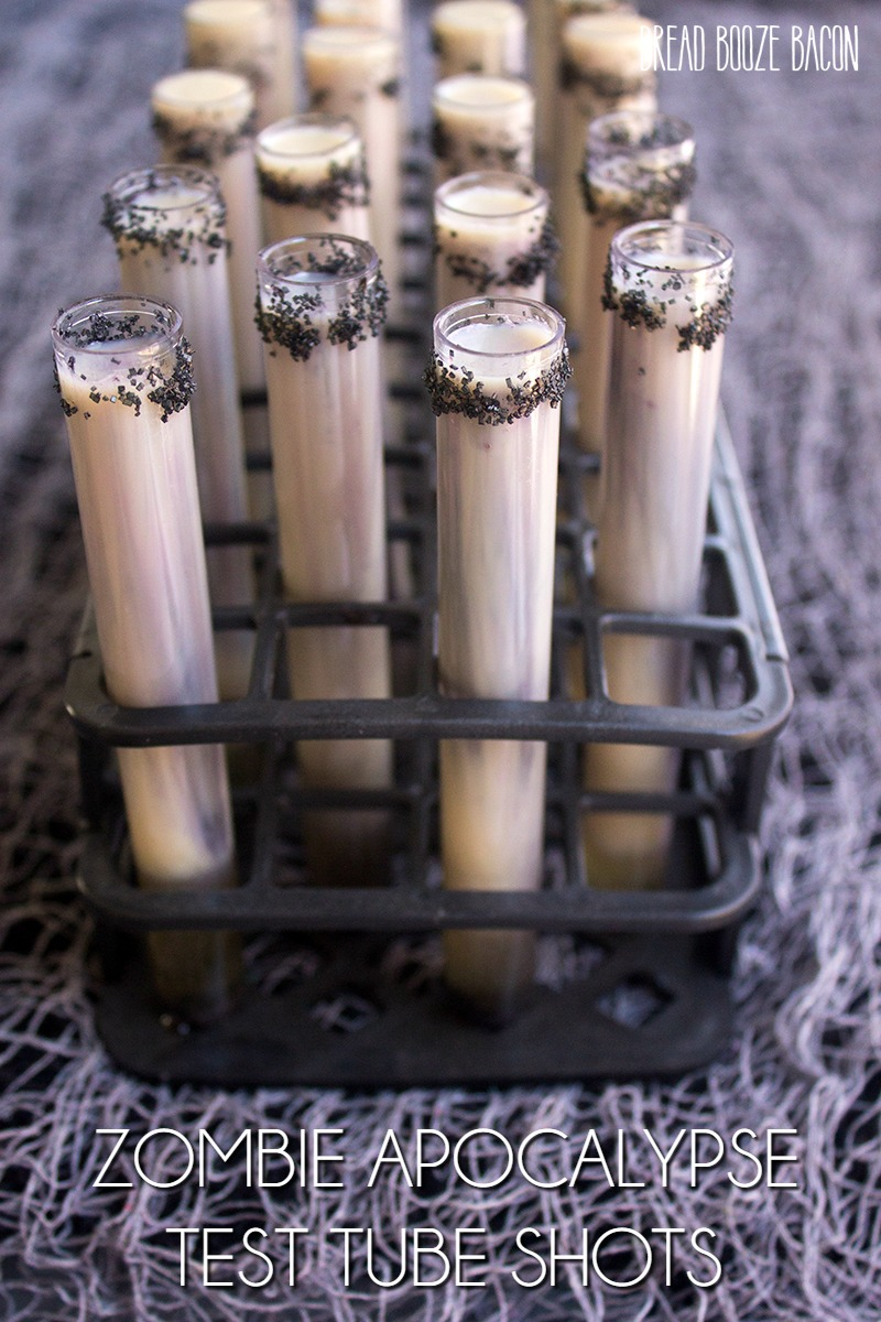 Get your Halloween party started with the fun Zombie Apocalypse Test Tube Shots!