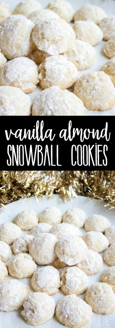 5-Ingredient Vanilla Almond Snowball Cookies are an easy holiday cookie that's a favorite at Christmas time! Make a double batch and share with friends!