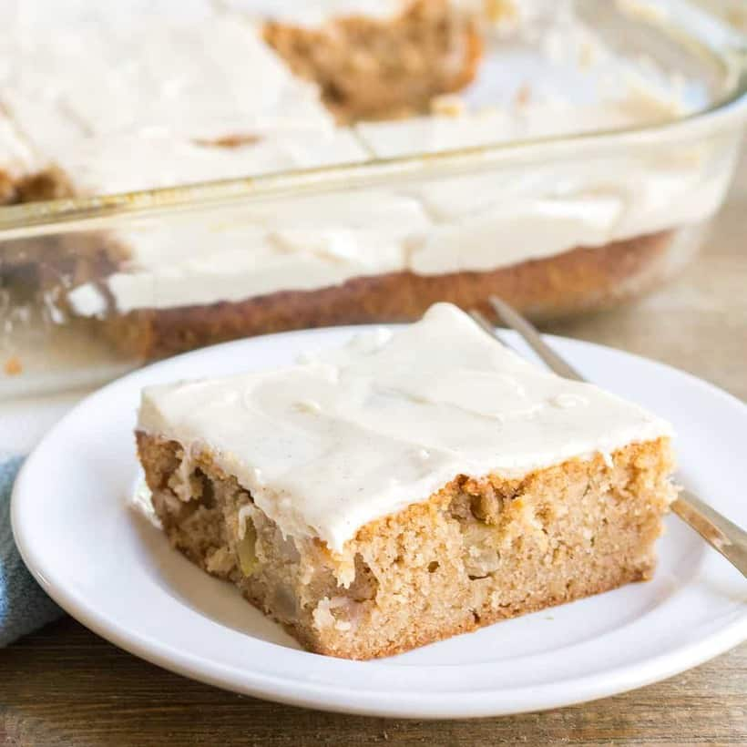 Easy desserts like this Apple Spice Cake are great for all your Fall gatherings! From game day to birthdays, this easy cake will be a hit with all your guests!