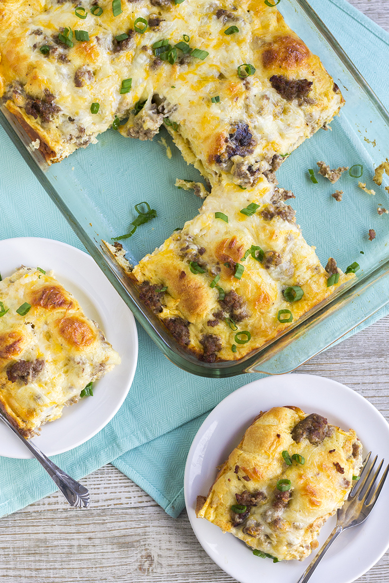 Cheesy Sausage Crescent Roll Breakfast Casserole 3 Bread