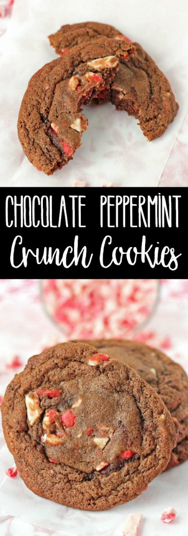 These Chocolate Peppermint Crunch Cookies are rich, chocolate cookies bursting with crunchy peppermint flavor. Perfect for a Christmas cookie exchange!