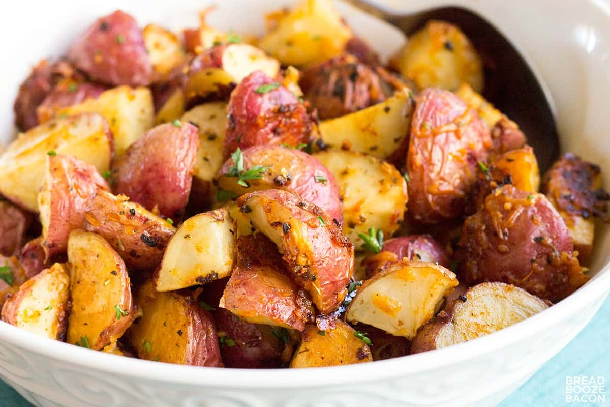 close up of roasted potatoes in a bowl