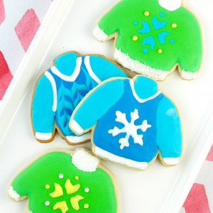 Ugly Christmas Sweatersare super fun to wear, but these Ugly Christmas Sweater Sugar Cookies are even more fun to make and eat!