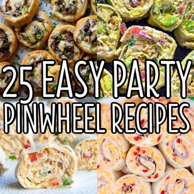square collage of pinwheel appetizers with text overlay