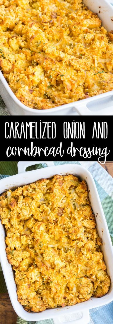 Caramelized Onion & Cornbread Dressing is one of my go-to side dishes for holiday dinners. Even people who say they don't like stuffing love this recipe!