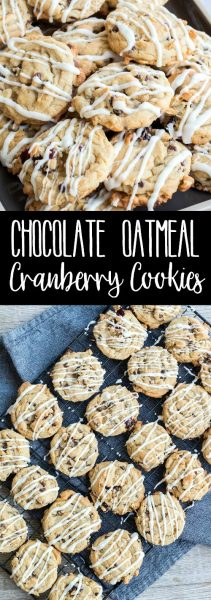 Loaded with two types of chocolate and tart dried cranberries, these Chocolate Oatmeal Cranberry Cookies are a family favorite everyone will ask for again and again!