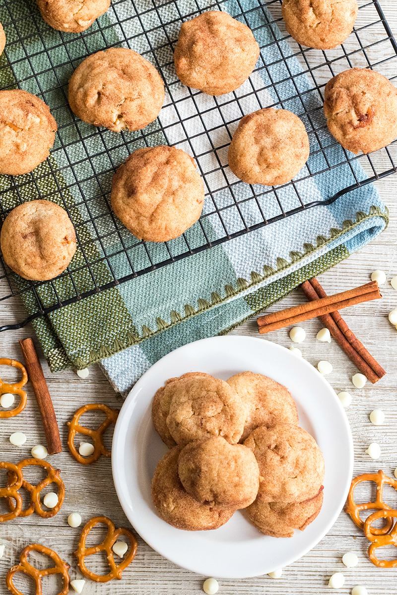Rich cookie butter, salty pretzels & white chocolate in these Loaded Cookie Butter Snickerdoodles are a delicious twist on a classic snickerdoodle cookie!