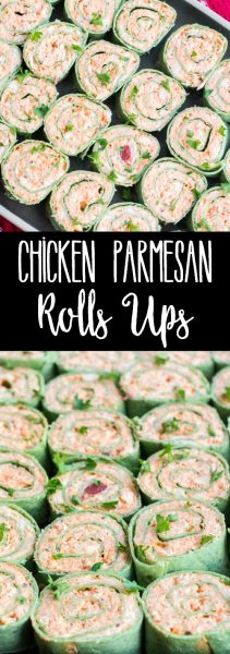 Chicken Parmesan Roll Ups are any easy appetizer loaded with your favorite Italian flavors! These poppable pinwheels are guaranteed to fly off the plate at your next party!