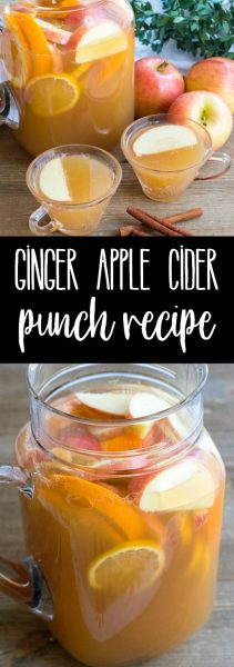 Ginger Apple Cider Punch is an easy to make drink perfect for any occasion! Make it family-friendly or spike it for an adults-only cocktail everyone will adore!