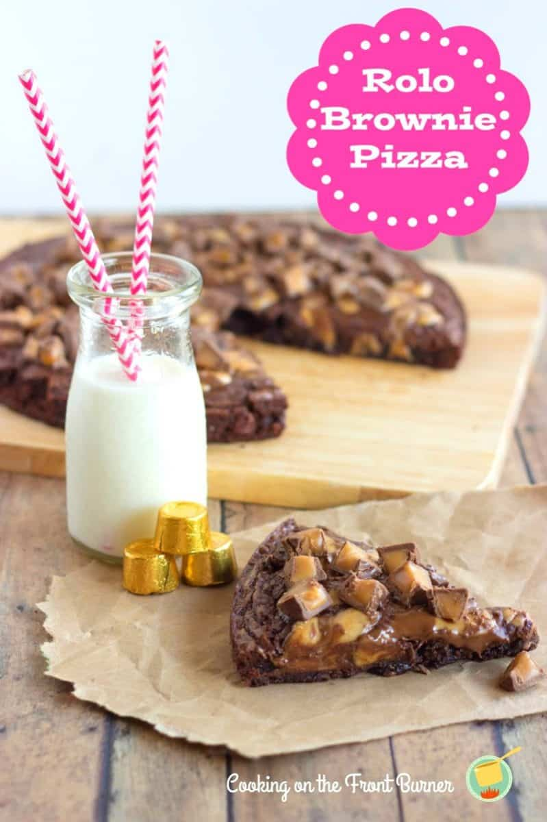 Rolo Brownie Pizza is an easy treat that'll make chocolate lover's week in the knees! This semi-homemade dessert is great for busy weeknights!