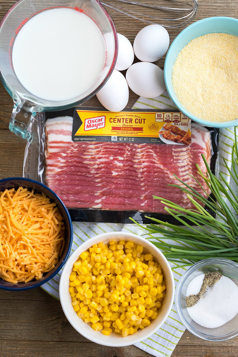 Ingredients to make cheesy bacon spoon bread