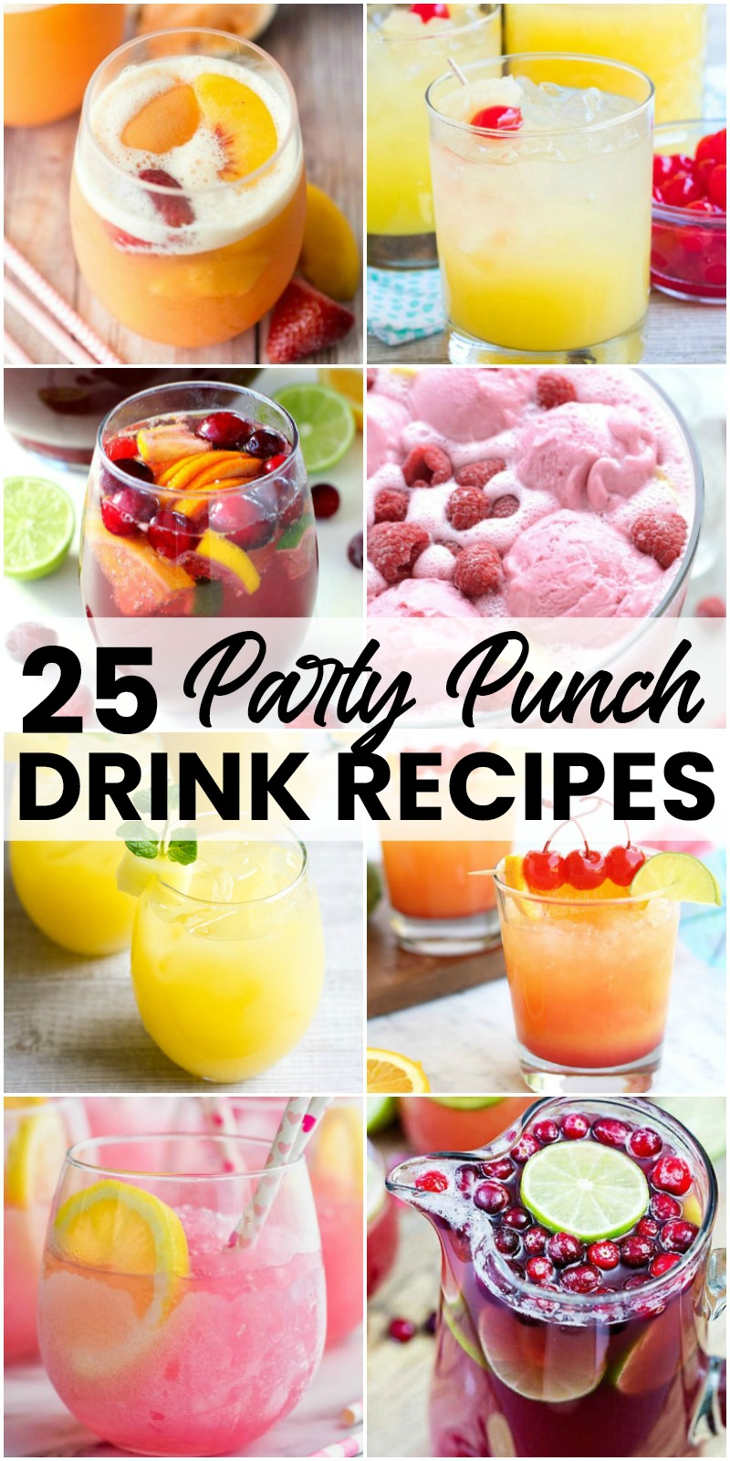 vertical collage of party punch recipes