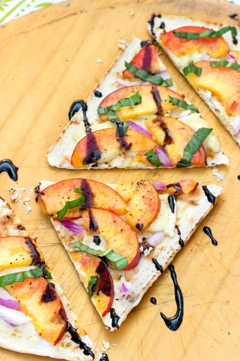 peach & brie flatbread recipe cut for serving