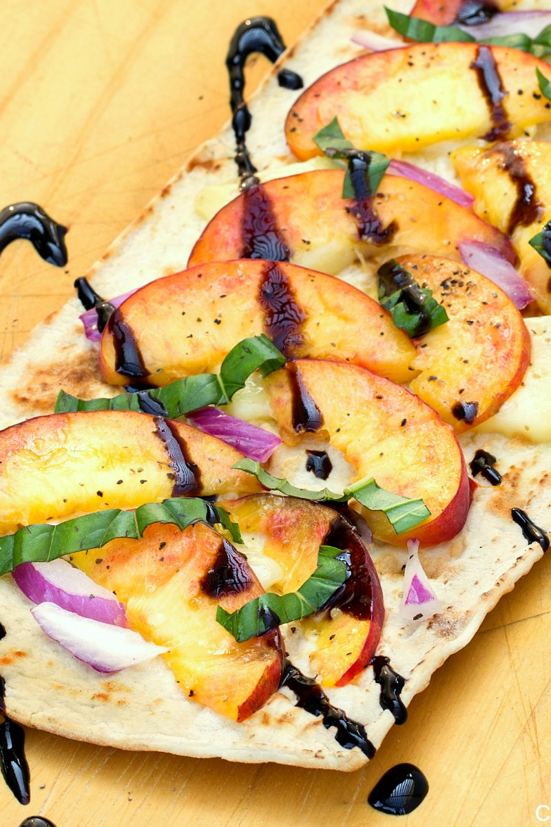 close up of peach & brie flatbread recipe