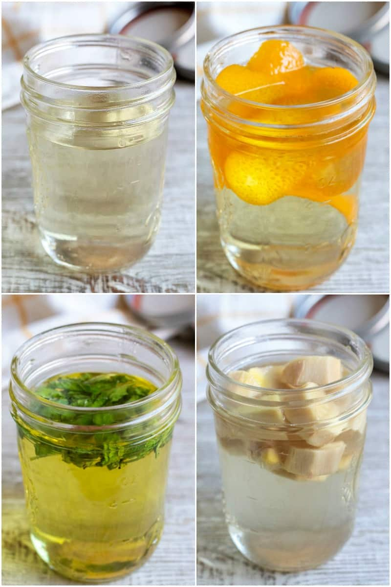 collage of simply syrup, orange simple syrup, mint simple syrup, and ginger simple syrup