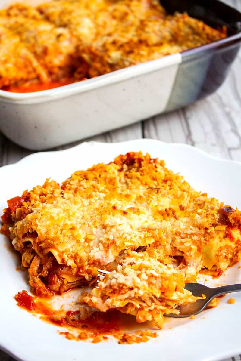 serving of chicken parmesan lasagna on a plate