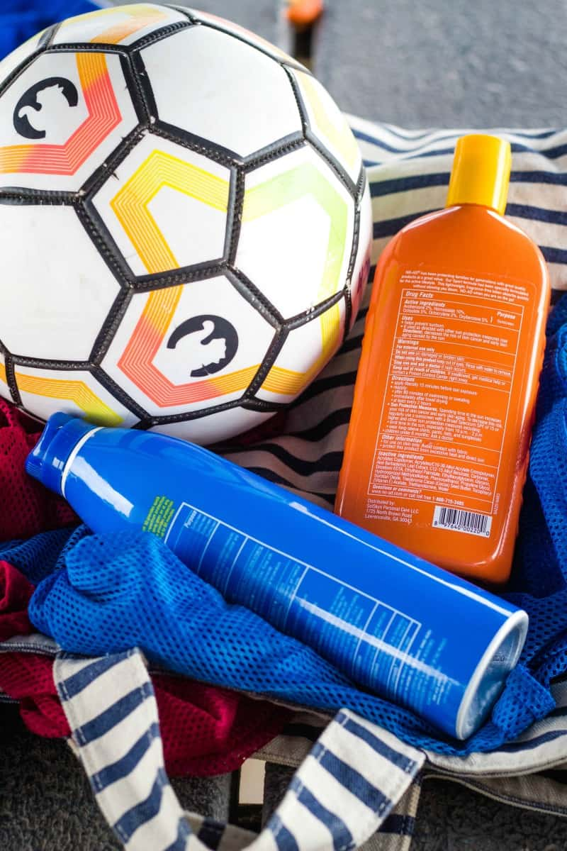 sunscreen, tote bag, soccer ball, and penny jerseys