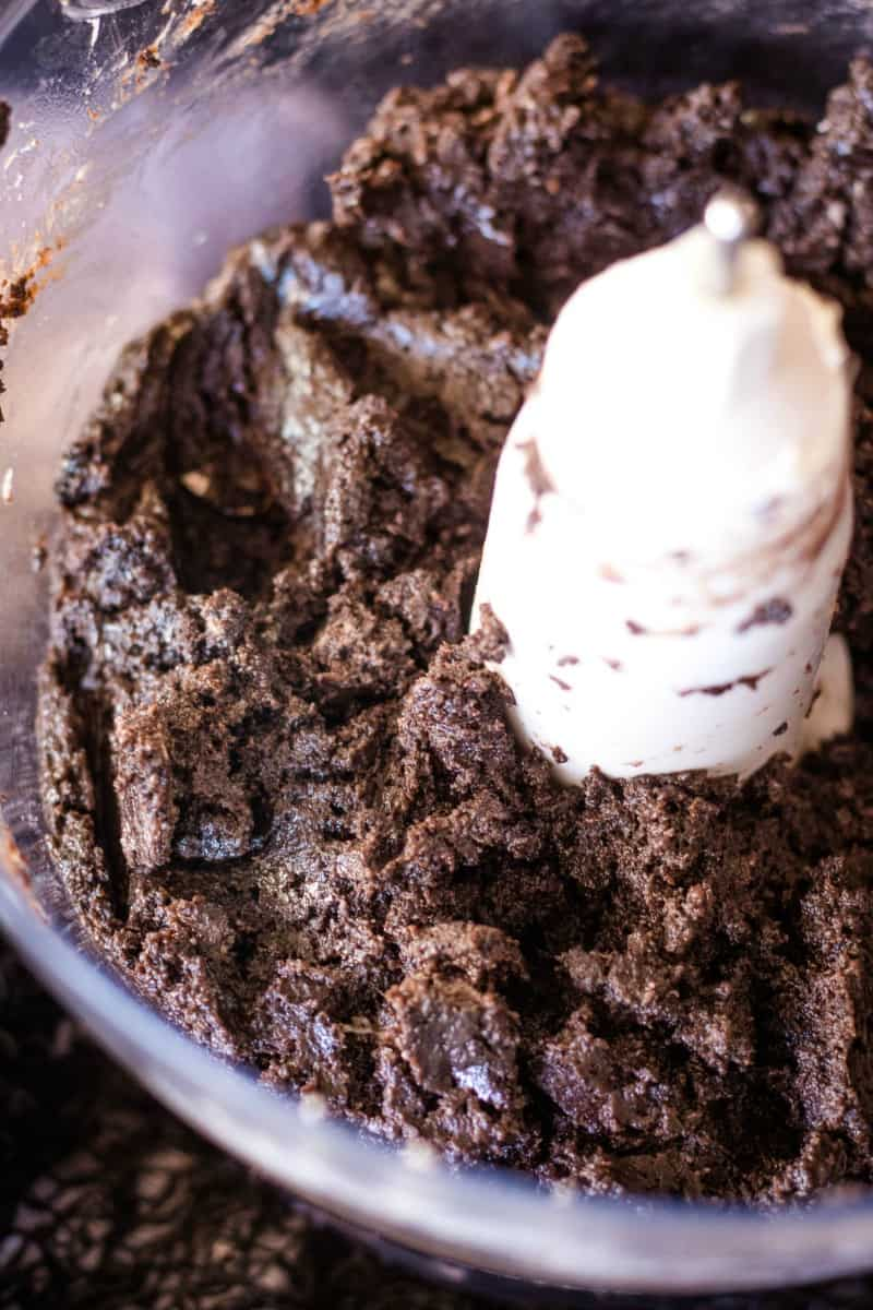 blended oreos and cream cheese for truffle filling