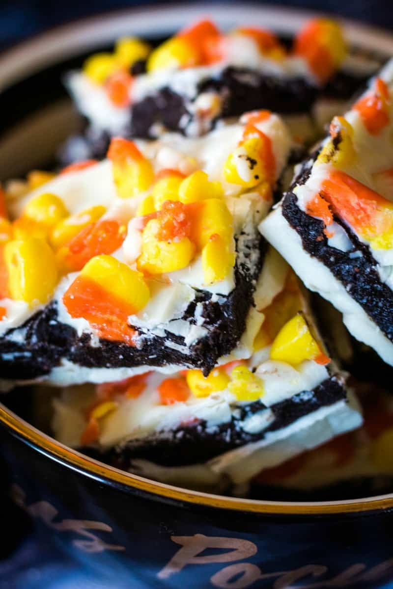 close up of candy corn truffle bark recipe in a bowl